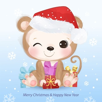 かわいい小猿のクリスマスグリーティングカード。クリスマスの背景イラスト。