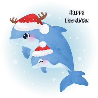 Рождественская открытка с милой мамой и маленьким дельфином.