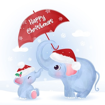 かわいいママと赤ちゃん象のクリスマスグリーティングカード