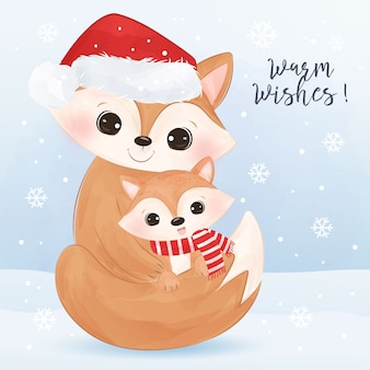 Christmas greeting card with cute mommy and baby fox. christmas background illustration.