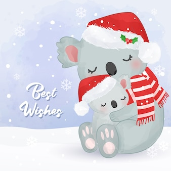 Christmas greeting card with cute mommy and baby koala. christmas background illustration.