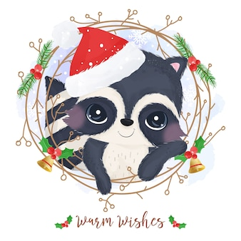 Christmas greeting card with a cute racoon