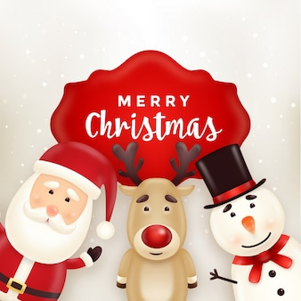 Christmas greeting card with cute santa, snowman, and reindeer characters