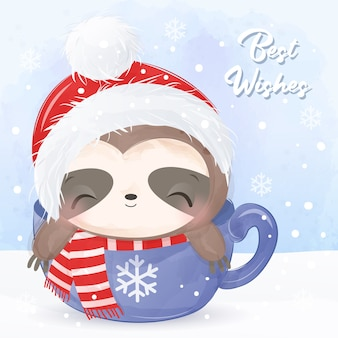 Christmas greeting card with cute sloth