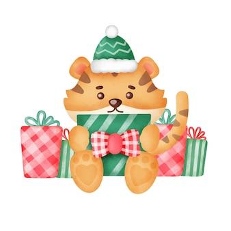 Рождественская открытка с милым тигром и подарочными коробками в стиле акварели.