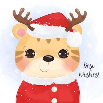 귀여운 호랑이와 크리스마스 인사말 카드를 닫습니다.