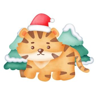 Рождественская открытка с милым тигром в стиле акварели.