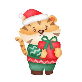 Рождественская открытка с милыми подарочными коробками tigerand в стиле акварели.