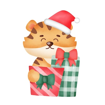 Christmas greeting card with cute tigerand gift boxes in watercolor style.