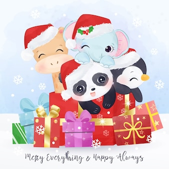 Christmas greeting card with cute wild animals playing together. christmas background illustration.