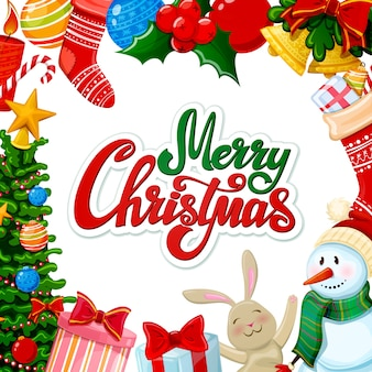 装飾が施されたクリスマスグリーティングカード