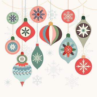 Рождественская открытка с декоративными елочными шарами