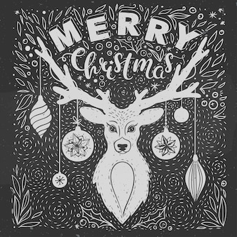 Christmas greeting card with deer vector greeting card with hand drawn deer lettering