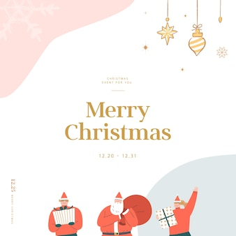 Christmas greeting card with emotional feeling illustration