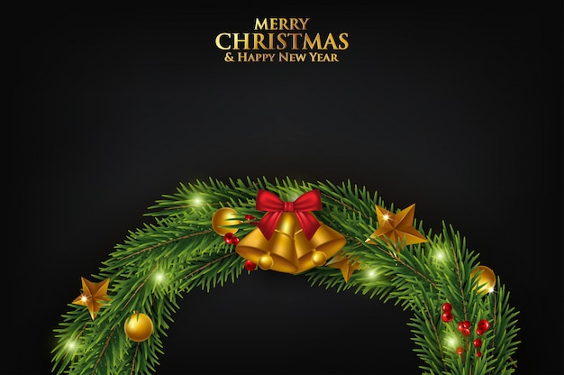 Christmas greeting card with fir branches decorated with ribbons, red and gold balls and berries.