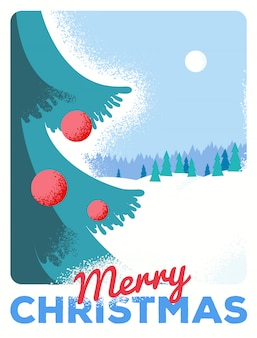 Christmas greeting card with fir, retro styled with scratched paper