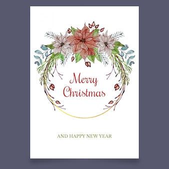 Christmas greeting card with flowers and leaves