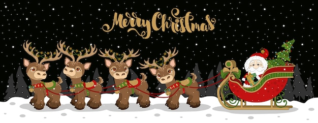 Christmas greeting card with funny santa claus and lettering