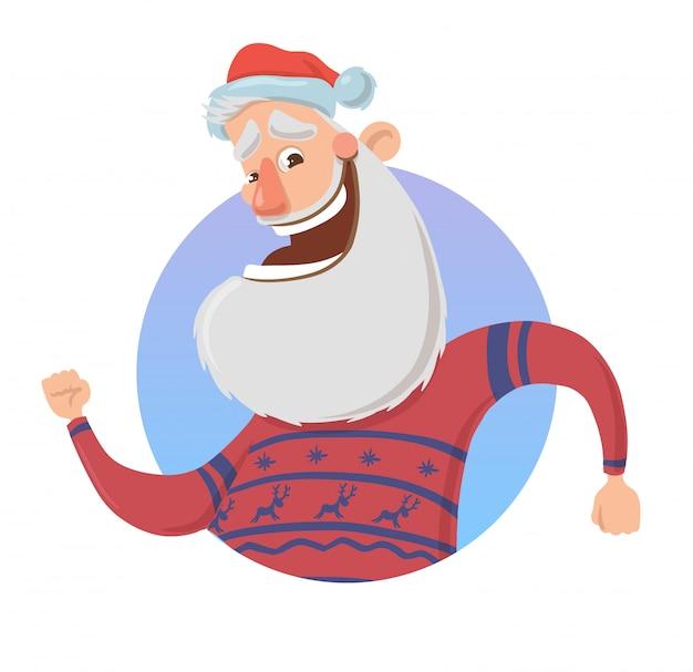 Рождественская открытка с забавным санта-клаусом улыбается и машет рукой. санта в свитере с оленями машет рукой. на белом фоне. круглый элемент. иллюстрация персонажа из мультфильма.