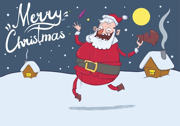 Christmas greeting card with funny santa claus in winter landscape