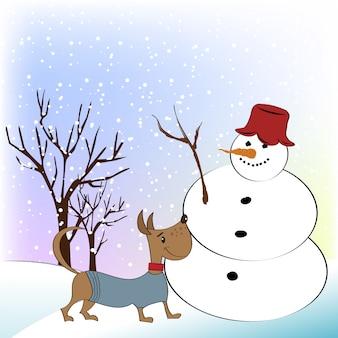 面白い雪だるまと幸せな犬とクリスマスの挨拶カード