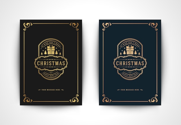 Christmas greeting card with gift box silhouette