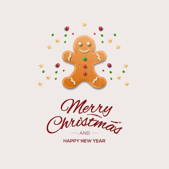 Christmas greeting card with gingerbread man and calligraphic inscription