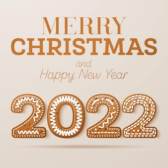 Christmas greeting card with glazed text in cookie style. happy new year 2022 with gingerbread numbers. vector illustration.