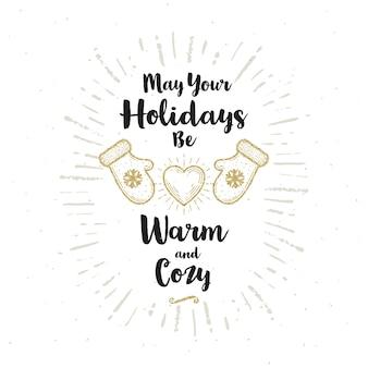 Рождественская открытка с блестящими золотыми рукавицами и сердцем