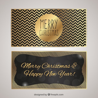 Christmas greeting card with golden christmas message