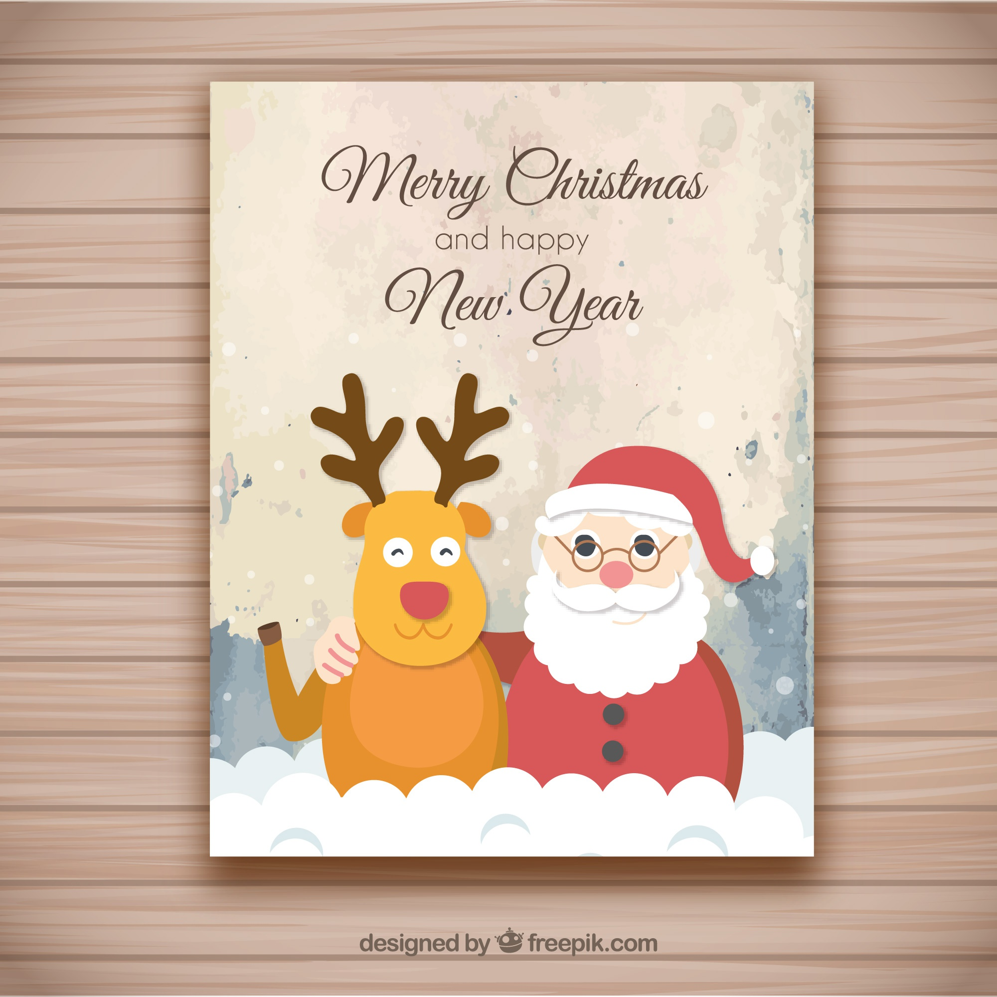 Christmas greeting card with grunge background