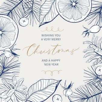 手描きの植物フレームとテキストの場所とクリスマスグリーティングカード