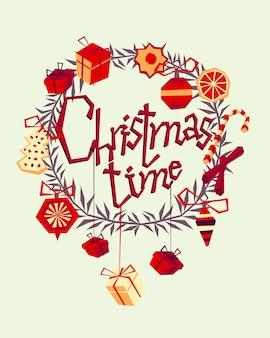 Рождественская открытка с рисованной декоративными элементами и сигналом. модный винтажный стиль.
