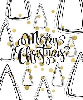 Biglietto di auguri di natale con scritte disegnate a mano. colori oro, bianco e nero. elemento di design di tendenza per decorazioni e poster natalizi. illustrazione vettoriale eps10