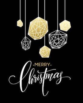 Christmas greeting card with handdrawn lettering. golden, black and white colors. trend design element for xmas decorations and posters. vector illustration eps10