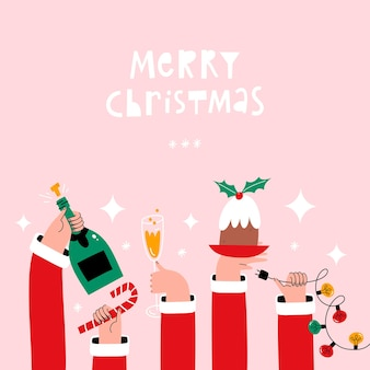 Christmas greeting card with hands holding holiday food drink and decorations