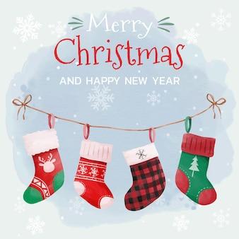 Рождественская открытка с подвесным дизайном украшения носков