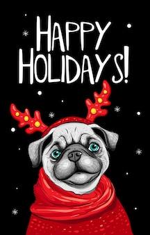 Рождественская открытка с хипстерской кошкой на белом фоне с новым годом