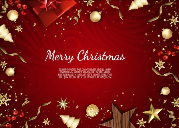 Christmas greeting card with holiday objects, merry christmas and happy new year, background with gift box and balls design,