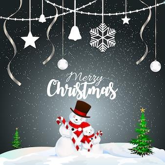 レタリングデザインのクリスマスグリーティングカード