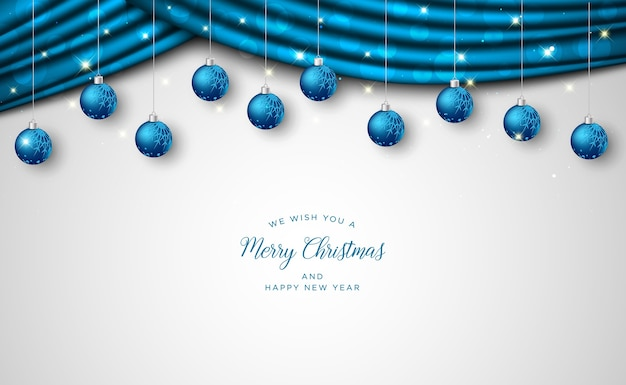 Christmas greeting card with light realistic decorative elements, christmas background