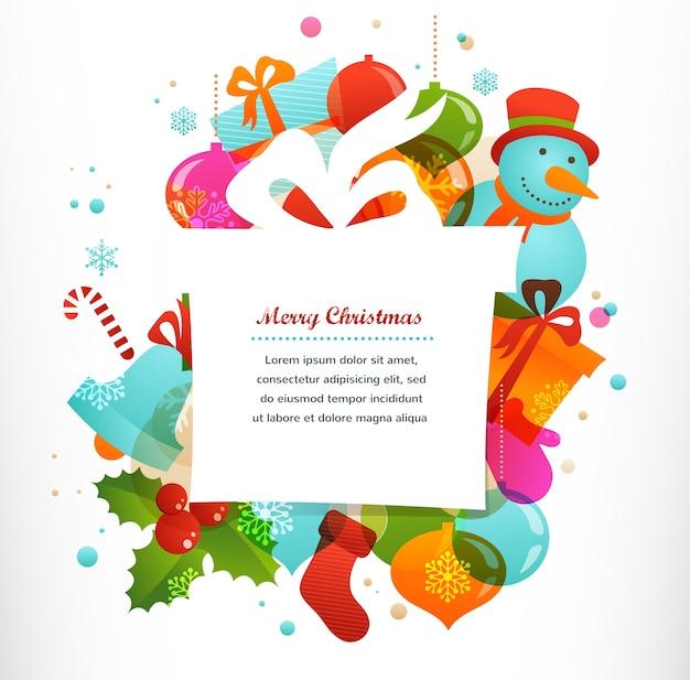 多くのクリスマス要素を持つクリスマスグリーティングカード