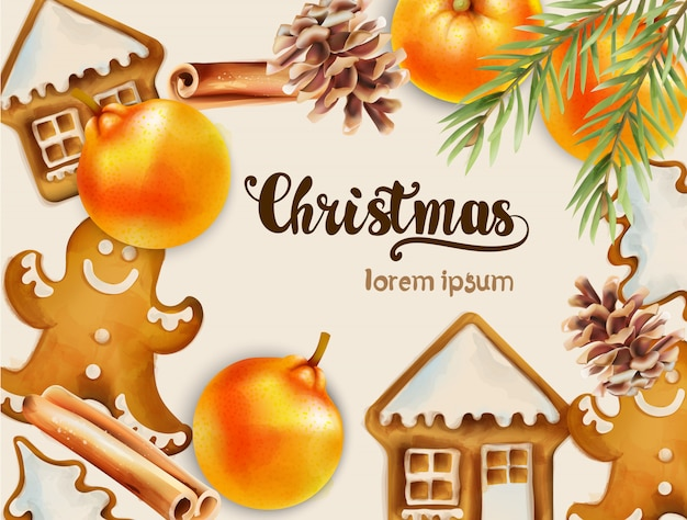 Christmas greeting card with ornaments