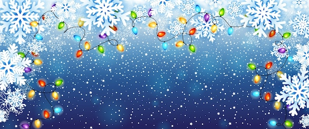 Christmas greeting card with paper snowflakes frame and colorful christmas lights garland.   illustration