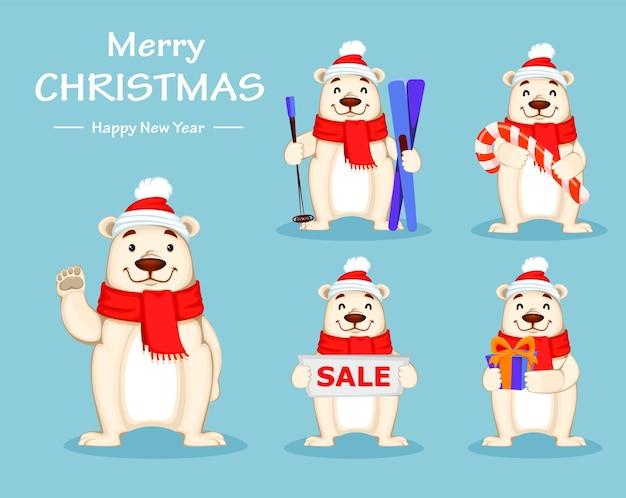 크리스마스 모자와 스카프, 5 포즈의 설정에 북극곰과 크리스마스 인사말 카드. 재미있는 화이트 베어 만화 캐릭터. 파란색 배경에