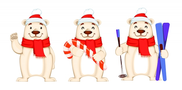 Christmas greeting card with polar bear