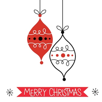 Christmas greeting card with red and white decoration christmas baubles