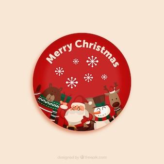 サンタと動物とのクリスマスのグリーティングカード