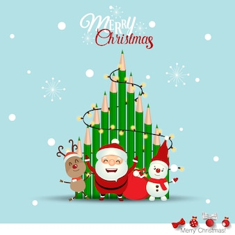 Christmas greeting card with santa claus and christmas tree