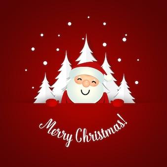 Christmas greeting card with santa claus and christmas tree